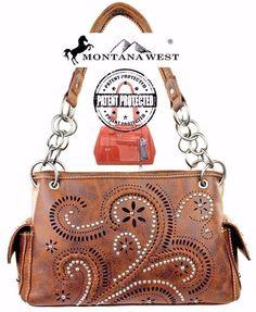 Montana West~Paisley Swirl Design Handbag~Concealed Handgun~Whipstitch~Studs~BR…