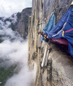 Camping on a cliff's edge. I would forget and get up to go get a drink of water......................