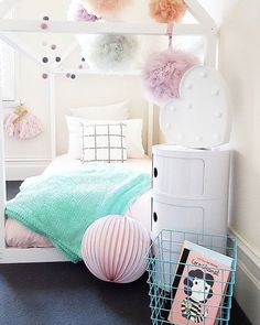 Pastel tones + white for a girls room