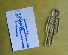 skeleton clear polymer rubber stamp $8.00. This is a great shop on Etsy all designs are original by Kim Jones. They are great!