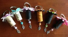 Artificial Cork Flower Keychains by CreationsbySNG on Etsy, $4.00