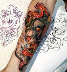 Löwen Tattoos in unserer Galerie der Woche Cool Back Tattoos, Tattoo Spirit, Neo Traditional Tattoo, First Tattoo, Black Panther Tattoo, Ink, Tattoo Art, Instagram, Design