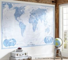 Ordered for Kennon's wall behind his bed National Geographic World Map Murals Giant World Map, World Map Mural, World Map Decor, Old World Maps, Kids Wall Murals, Custom Wall Murals, Art Wall Kids, Wall Collage, Framed Wall Art