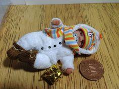 dolls house ooak sculpt baby boy, Christmas Snowman 1/12 scale