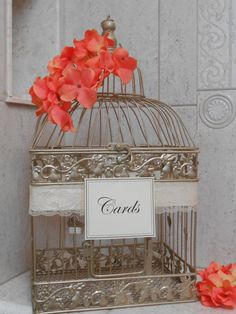 Champagne Gold Birdcage / Card Box / Wedding Card Holder / Birdcage Cardholder / Coral Wedding / Elegant Wedding Cardholder on Etsy, $68.00