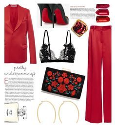 """""""RED"""" by swweetalexutza ❤ liked on Polyvore featuring Christian Louboutin, Givenchy, Kenneth Jay Lane and Chanel"""