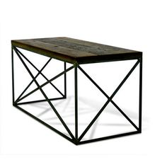 """55""""W + 27""""D + 30""""H INDUSTRIAL STEEL + RECLAIMED DOUG FIR POLY + WAX FINISH //CUSTOMIZE THIS PIECE This Desk is Custom Made in Los Angeles. Industrial metal frame is cut and welded. Salvaged wood beams"""