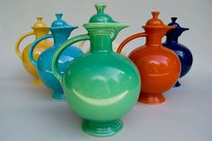 Vintage Fiesta Carafe in Original Green: Fiestaware Pottery For Sale