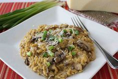 "Porcini & Crimini Mushroom Orzo ""Risotto"" Recipe by CookinCanuck Top Recipes, Greek Recipes, Veggie Recipes, Vegetarian Recipes, Cooking Recipes, Orzo Recipes, Yummy Recipes, Stuffed Mushrooms, Arrows"