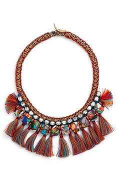 Tory Burch Jeweled Macramé Statement Necklace available at #Nordstrom