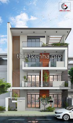 thiet ke nha ong hien dai 8m 03 Duplex Design, Bungalow House Design, Modern House Design, Exterior House Colors, Exterior Design, Architectural House Plans, Independent House, Apartment Floor Plans, Fantasy House