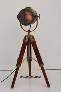 MARINE SPOT LIGHT BROWN WOODEN TRIPOD LAMP NAUTICAL TABLE LAMP HOME DECOR #sarainternational