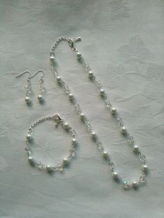 Bridesmaids Jewelry Set White & Crystal Beaded by InfinityByClaire, £12.00