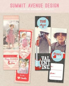 free valentine bookmark photography templates