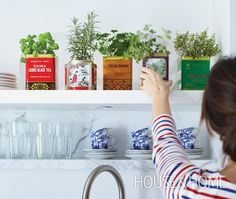 Save your old tea tins to make these DIY herb planters (@Allison j.d.m House! and Home)