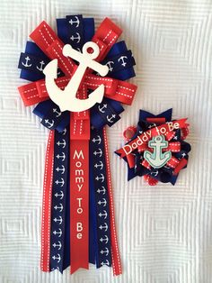 Baby Shower Corsage Pin Set Nautical Sailing Anchor Mommy to be and Daddy to be