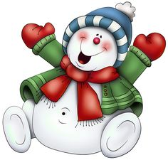 Snowman with Scarf PNG Clipart (use on transparencies inside clear glass balls)