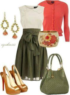 Pretty Pink Sweater, White top, Green bow knee length skirt, orange heels