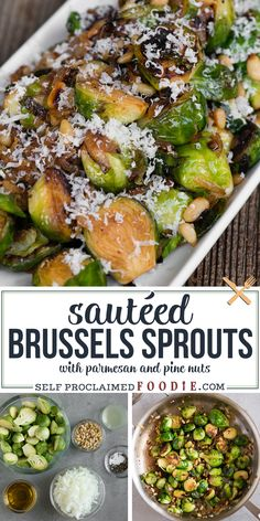 Sautéed Brussels Sprouts, with onion, pine nuts, and parmesan, are an easy flavorful vegetable side dish recipe. #brusselssprouts #sauteed #recipe #easy #pinenuts #side