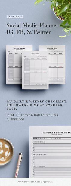 Daily Planner Printable, Weekly Meal Planner, Blog Planner, Work Planner, Business Planner, Business Ideas, Calendar Organization, Social Media Calendar, Portrait
