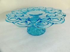Colonial Blue Glass Cake Plate - Footed with Stunning Moon and Stars Pattern $68 @ http://www.etsy.com/listing/83783775/colonial-blue-glass-cake-plate-footed