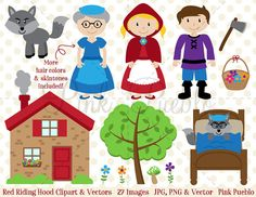 Red Riding Hood Clipart Clip Art, Little Red Riding Hood Fairytale Clipart Clip Art - Commercial and Personal Use