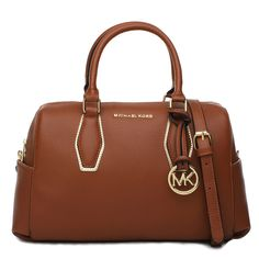 Michael Kors Grayson Saffiano Logo Medium Brown Satchels