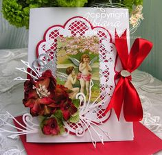 by Stamping with Bibiana: Valentine's Vintage Cherubs with Petaloo flowers and vintage dazzlers gift tags. details at the blog