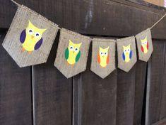 OWLS Burlap Banner Bunting Garland Pennant by MasonBranchStudio Burlap Owl, Burlap Bunting, Bunting Garland, Buntings, Owl Banner, Triangle Square, Pennant Banners, Kids Decor, Photo Props