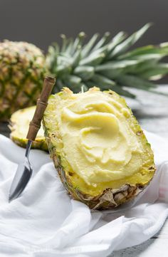 Nothing says vacation like eating pineapple sorbet out of a fresh pineapple. Get the recipe from I Wash You Dry. Fresh Pineapple Recipes, Eating Pineapple, Pineapple Sorbet, Fruit Sorbet, Pineapple Desserts, Fruit Recipes, Cooking Recipes, Pineapple Bowl, Parfait Recipes