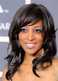 African American Women's Wavy Synthetic Hair Wigs With Bangs Medium Hairstyle Capless Wigs Best Human Hair Wigs, Cheap Human Hair Wigs, Long Hair Wigs, Medium Hair Styles, Curly Hair Styles, Natural Hair Styles, Medium Curly, Hair Medium, Wig Styles