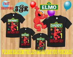 ELMO Sesame street BOY birthday Family BLACK Theme Shirts Vacation Long Sleeve Short Sleeve Tank tops Toddler Tshirt