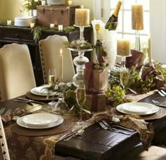 Rustic Christmas Table Setting ❤ Golds and maroons, greens, and neautrals