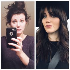 Guys I finally caved and added a fringe to the baby bang outrage that was my face. says I look younger, about Guys I'm 26 😩😩😩 thanks for helping me! Haircuts With Bangs, Hairstyles With Bangs, Pretty Hairstyles, Latest Hairstyles, Before And After Haircut, Hair Transformation, Great Hair, Hair Highlights, Hair Today