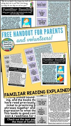 Familiar Reading explained! Free handout for parents and volunteers by…