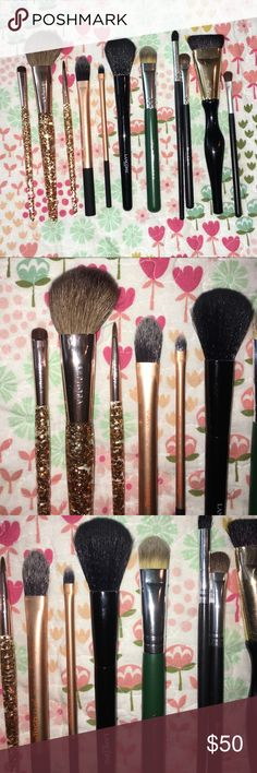 Makeup brush bundle Real techniques, sephora, Lancôme, fora, Sonia Kashuk, and two with no brand. Great condition some were never even used Sephora Makeup Brushes & Tools