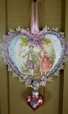 Vintage Inspired Valentine Heart Ornament.