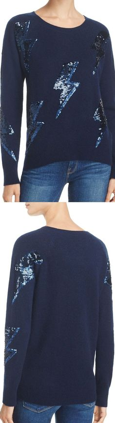 Aqua Cashmere & Sequin Lightning Bolt Sweater - Bloomingdales exclusive label, AQUA. A perfect style recipe of soft-spun style, plus eclectic personality. This classic cashmere sweater hosts the Fall Autumn Winter 2017 sequin trend in lightning bolt appliqués on a 100% Cashmere. Quirky-cute. #fallfashion #christmas #giftsforher #christmaspresents #underthetree #affiliatelink #winter #cashmere