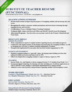 12 substitute teacher resume samples riez sample resumes