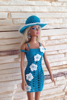 A personal favourite from my Etsy shop https://www.etsy.com/listing/512632858/crochet-barbie-dress-and-hat-handmade