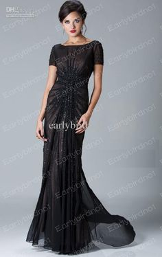 cb9cbe785e Wholesale 2013 Sexy New Jewel Short Sleeve Crystals Ruffles Chiffon Black  Mother Of The Bride Dresses