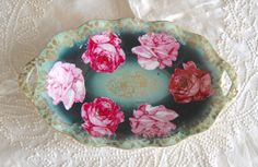 Bavaria Handpainted Pink Roses Teal Gold by AgingBeautyBoutique, $25.00