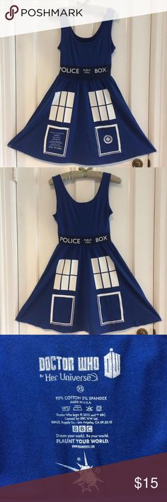 Tardus Dress Calling all Dr. Who fans! Cute Tardis tank dress for casual, cosplay or costume wear. Stretchy 95% cotton, 5% spandex. Excellent condition, only worn a couple of times. Her Universe Dresses Mini