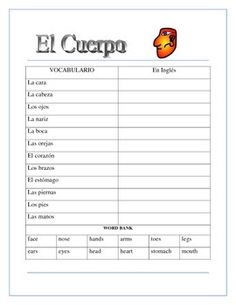 """This interactive unit contains four pages. It is a great tool to introduce students to body parts and to a very important Spanish motto """"Ojos que no ven corazon que no siente""""  Eyes that don't see, heart that doesn't feel"""" The result of our double puzzle. ."""
