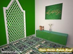 Simak Tips Desain Mushala Untuk Rumah Anda Islamic Decor, Islamic Wall Art, Motifs Islamiques, Prayer Corner, Prayer Room, Islamic Architecture, Rugs In Living Room, Decoration, House Design