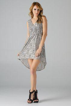 Metallic Lace Hi-Lo Dress (Silver) - Front