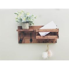 Mail Organizer Key & Mail Holder Rustic Organizer Farmhouse Decor ($45) ❤ liked on Polyvore featuring home, home decor, small item storage, home & living, home décor, white, key organizer, mail key holder, handmade home decor and white home decor