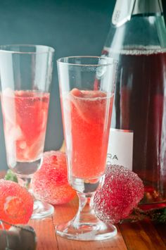 Blood Orange Sorbetto Champagne Cocktails