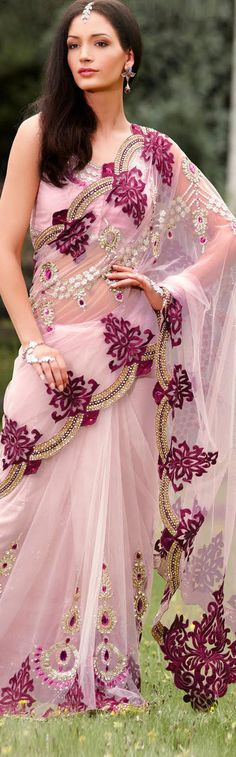 $175.69 Pink Net Latest Fashion Saree 16759 With Unstitched Blouse