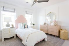 Girls' Room with pink ceiling   Pondicherry Bed in Shell Pink via #serenaandlily   Image via Studio McGee
